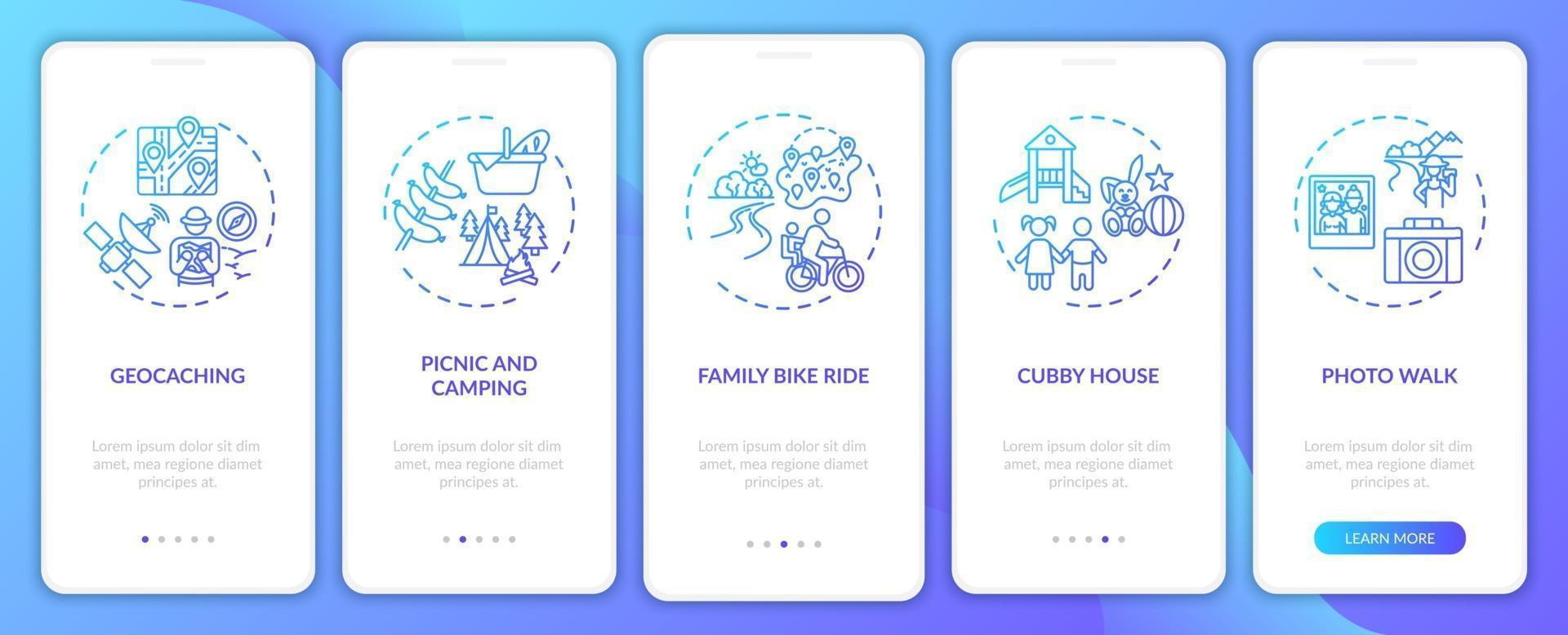 gezinsactiviteiten in de buitenlucht onboarding mobiele app-paginascherm met concepten vector