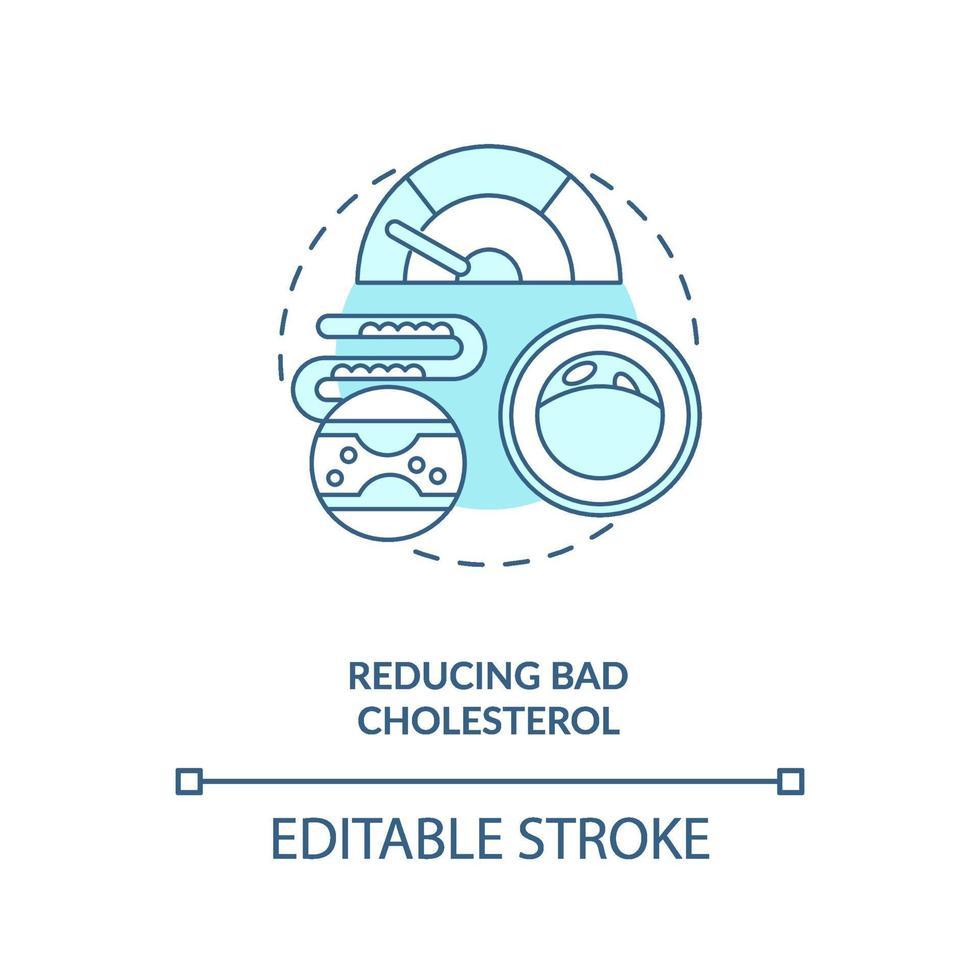 het verminderen van slechte cholesterol blauw concept pictogram vector