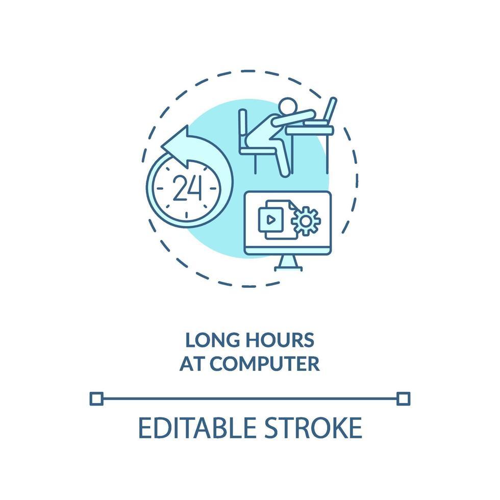 lange uren op het pictogram van het concept van de computer vector
