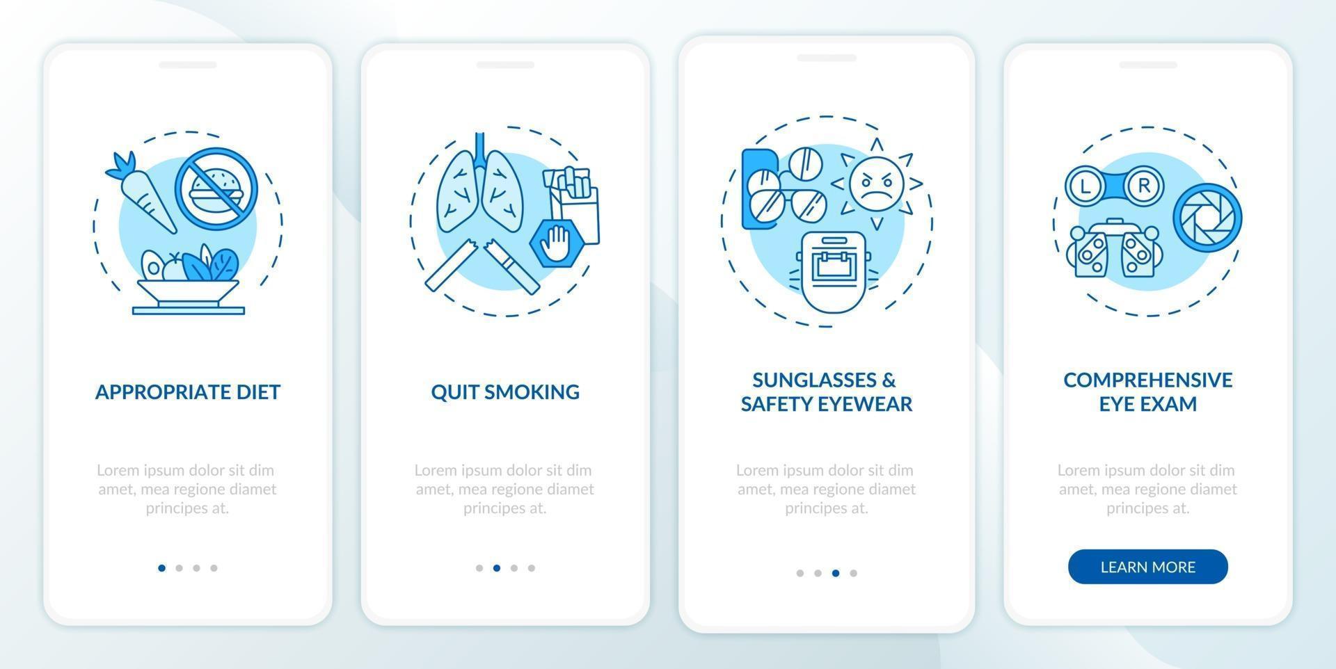 ooggezondheidstips onboarding mobiele app-paginascherm met concepten vector
