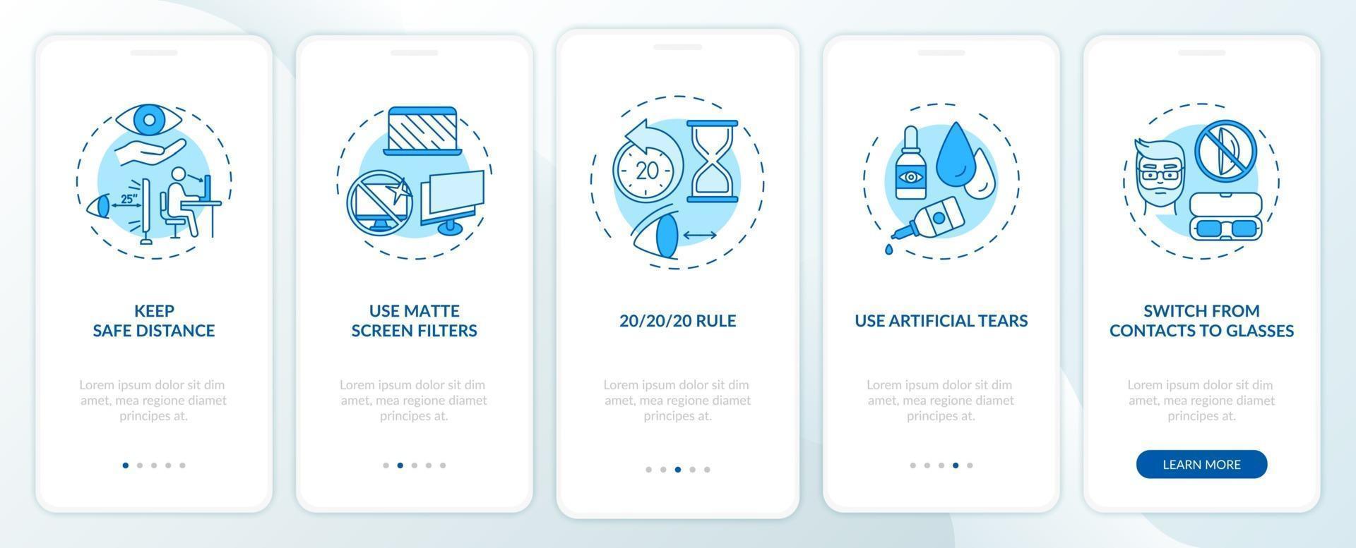 tips voor het voorkomen van digitale vermoeide ogen onboarding app-paginascherm met concepten vector