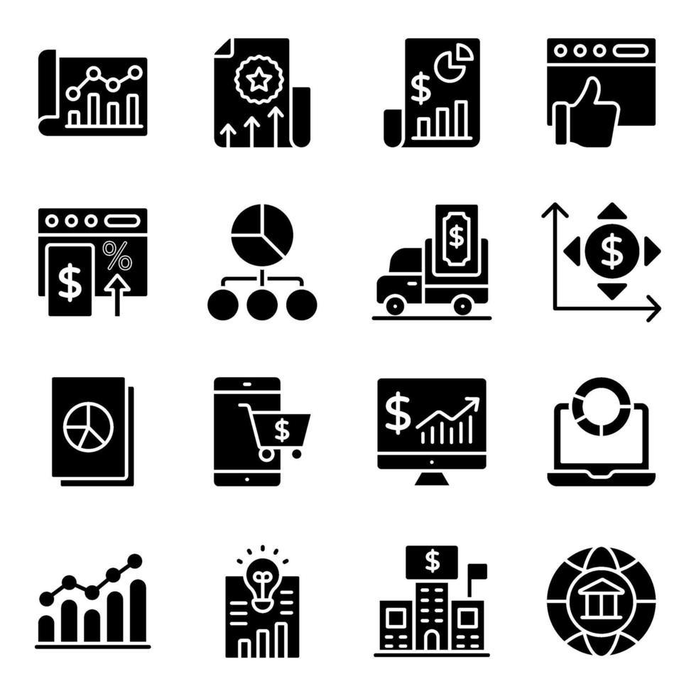 financiële statistieken solide pictogrammen pack vector