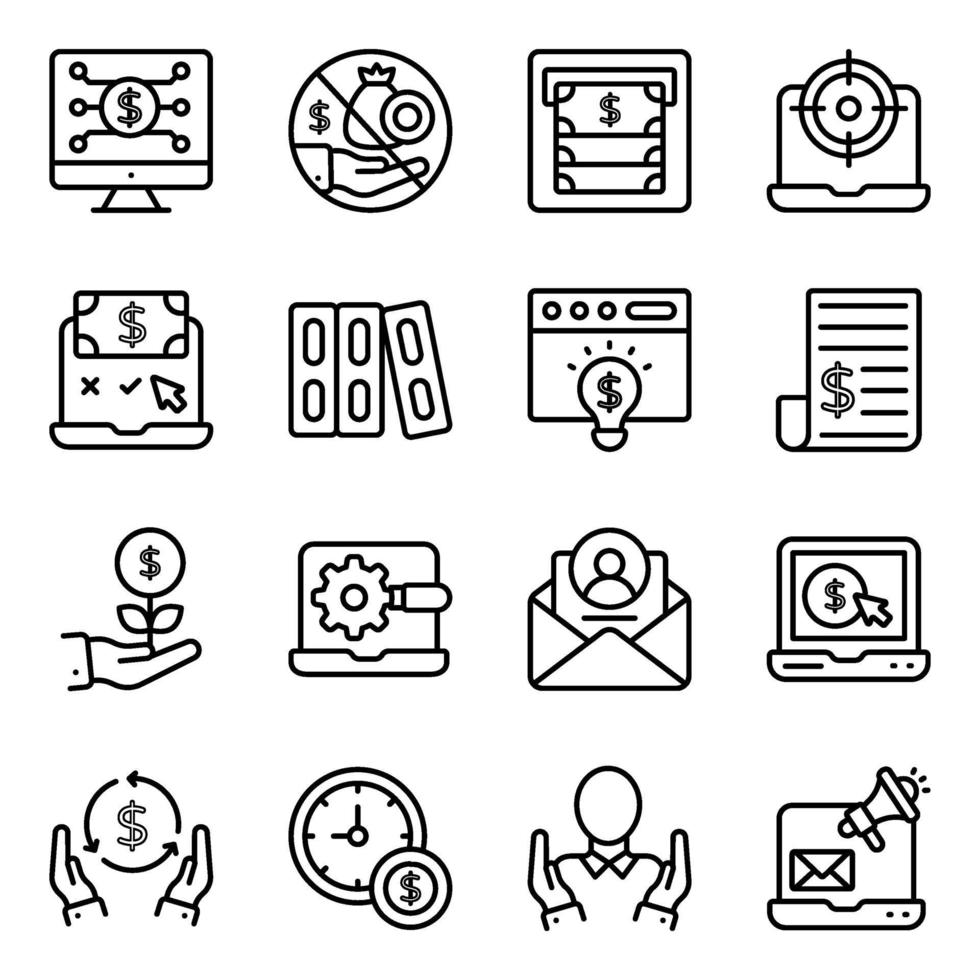 pakket fintech lineaire pictogrammen vector