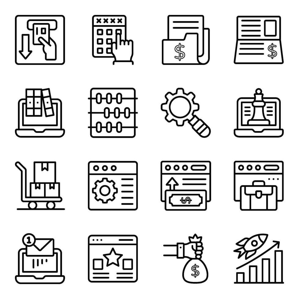 online zaken en analyse lineaire pictogrammen vector