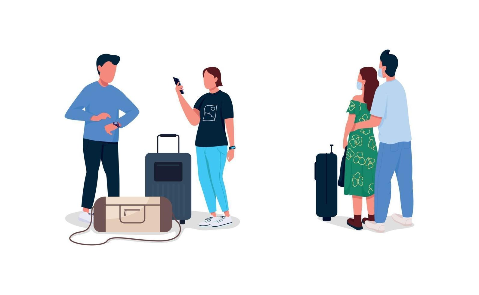 vliegtuigpassagiers egale kleur vector anonieme tekenset