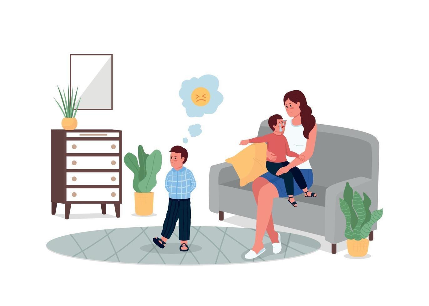 moeder met ruzie kinderen egale kleur vector gedetailleerde karakters