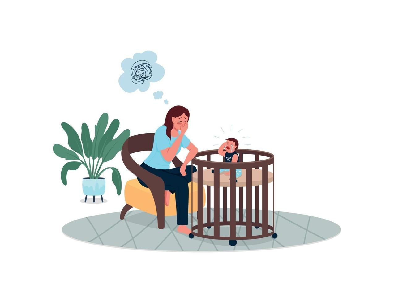depressieve moeder met huilende baby egale kleur vector gedetailleerde karakters