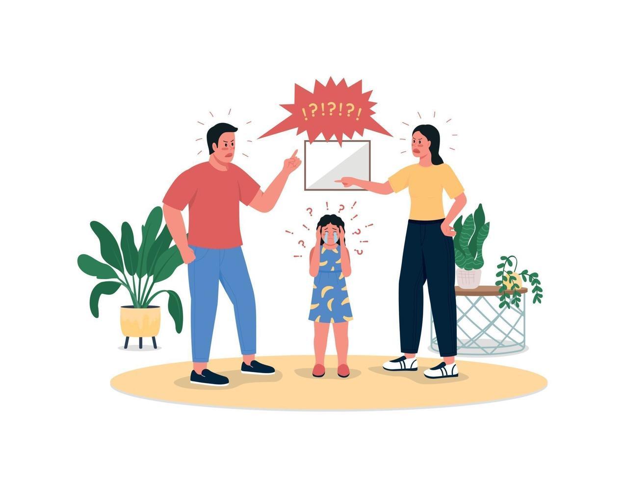 vechtende ouders en huilende dochter egale kleur vector gedetailleerde karakters