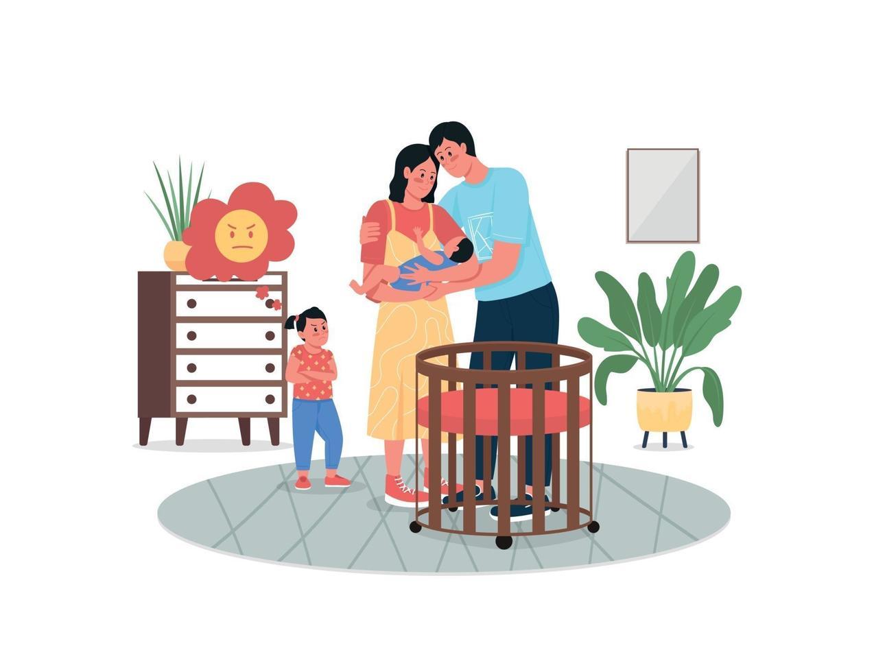 meisje jaloers met de pasgeboren baby egale kleur vector gedetailleerde karakters van de ouders