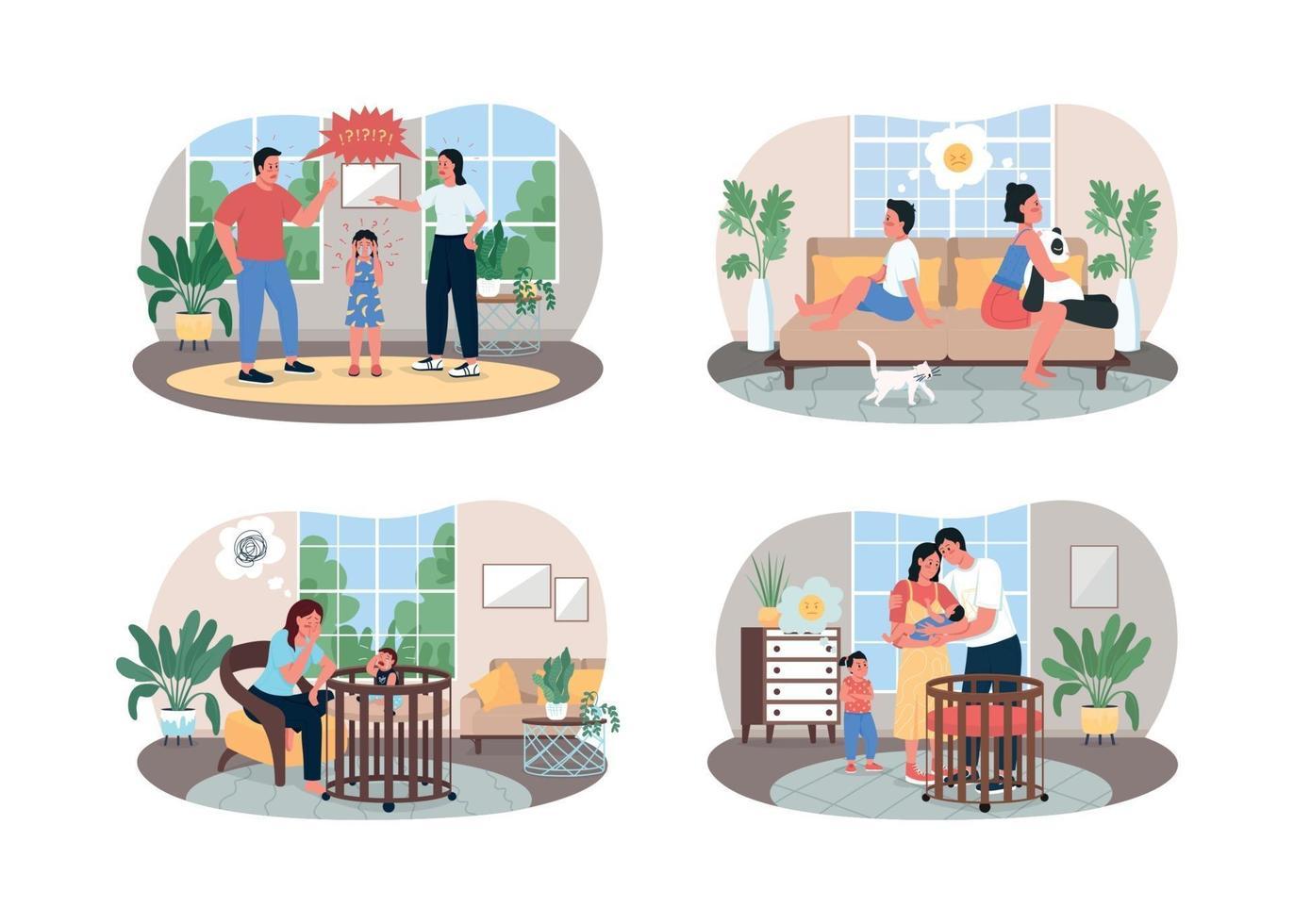 ouders en kinderen conflicteren 2d vector webbanner, poster set