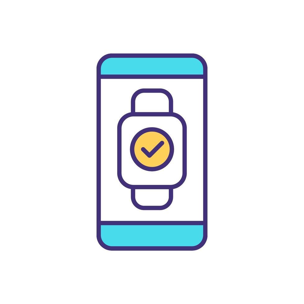 synchronisatie smartwatch met rgb kleur telefoonpictogram vector