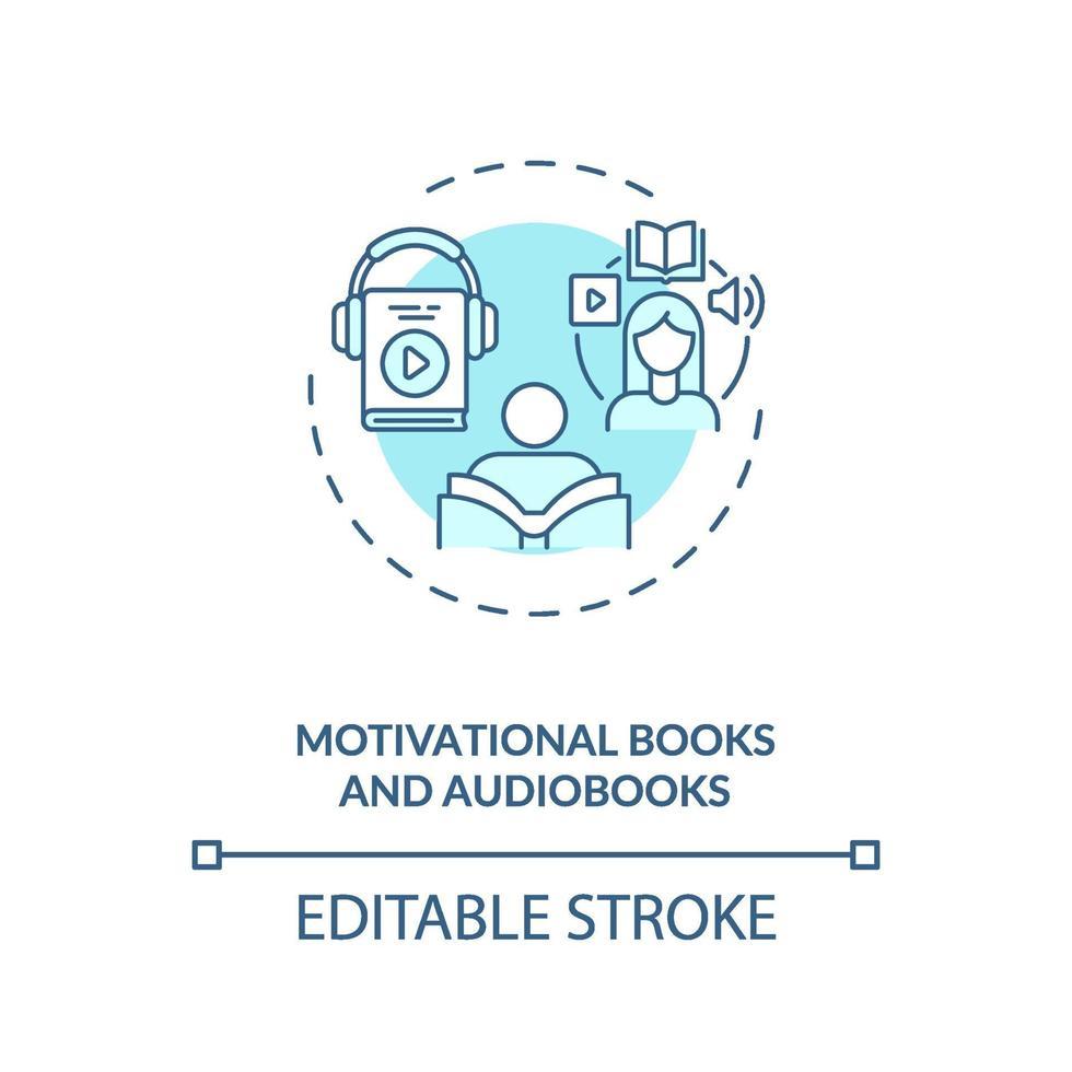 motiverende boeken en audioboeken concept pictogram vector