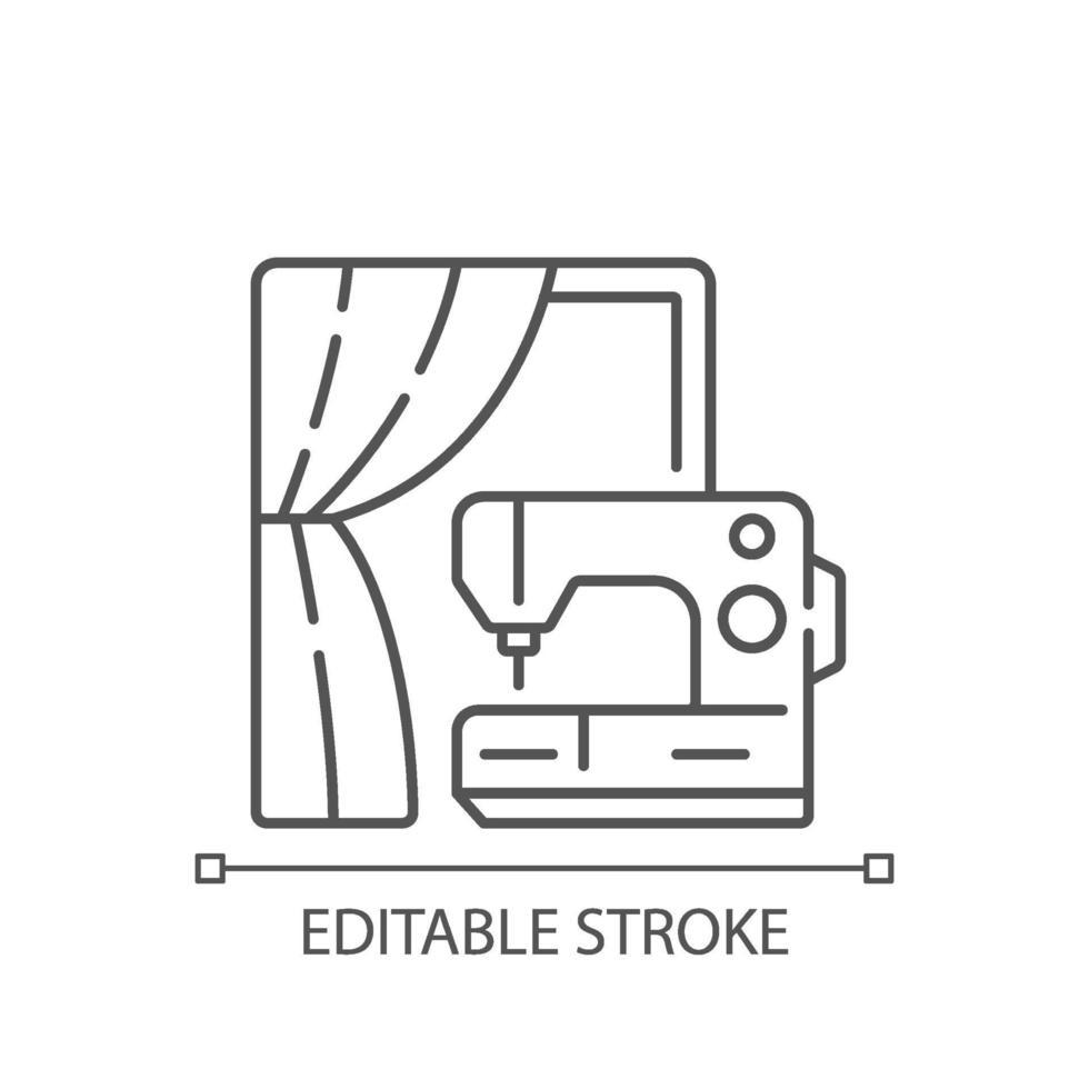 gordijn naaien en wijziging lineaire pictogram vector