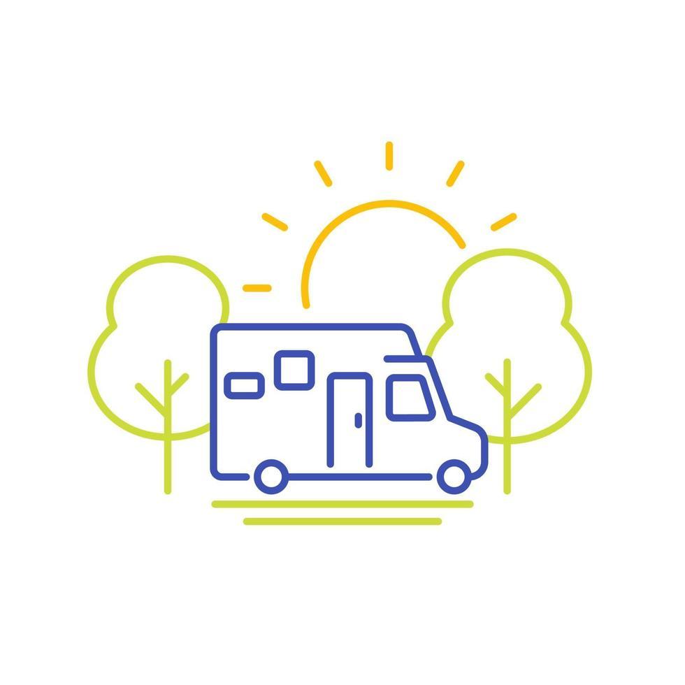 camper lijn pictogram, reizen in kampeerbusje vector