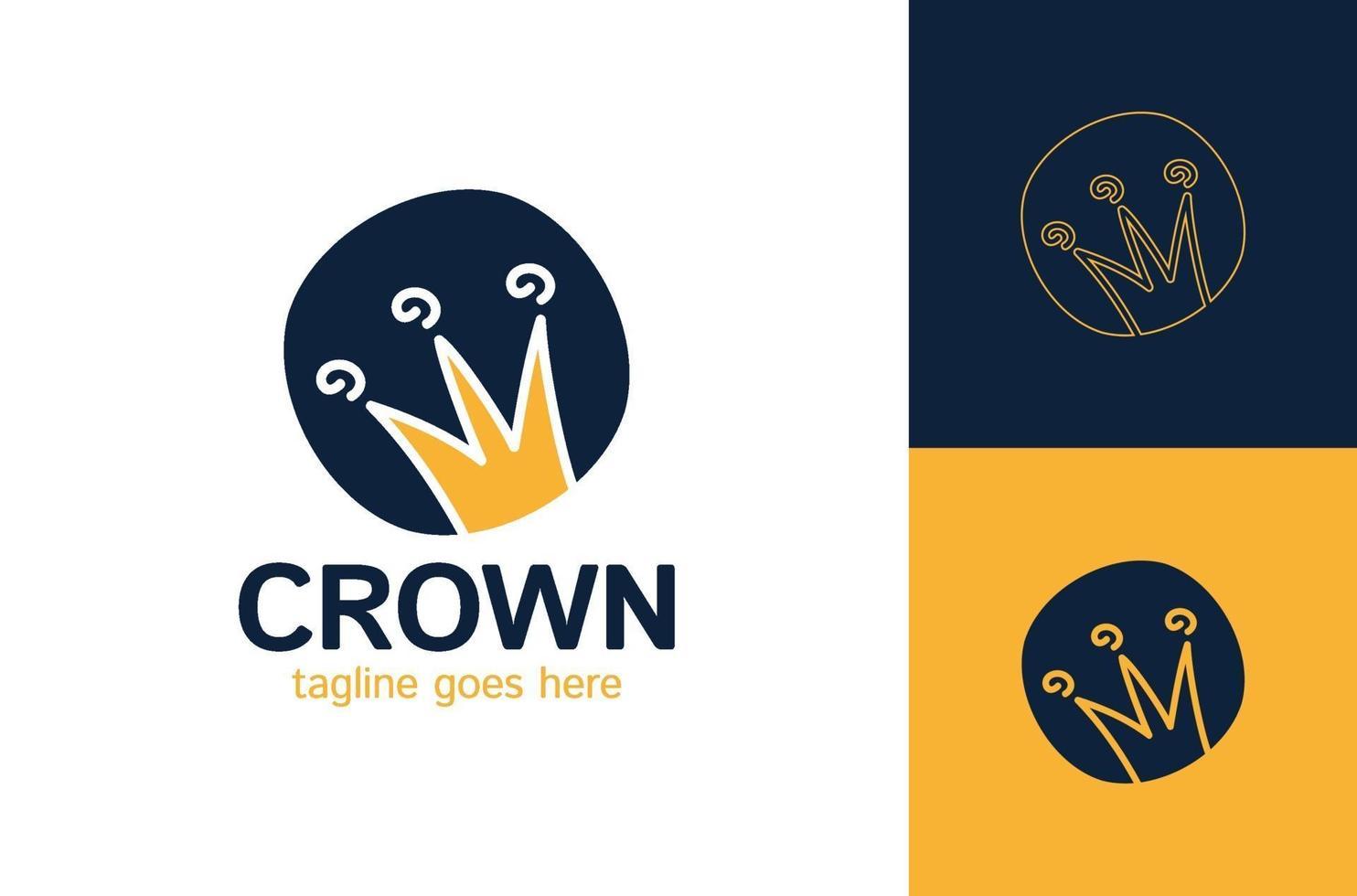 grafisch modernistisch element met de hand getekend. koninklijke kroon van goud. geïsoleerd op een witte achtergrond. vector illustratie. logo, logo