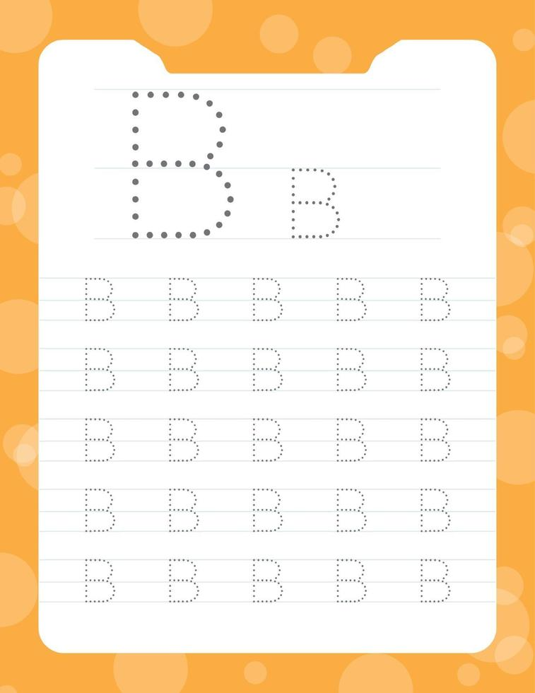 letter b tracing alfabet werkbladen vector