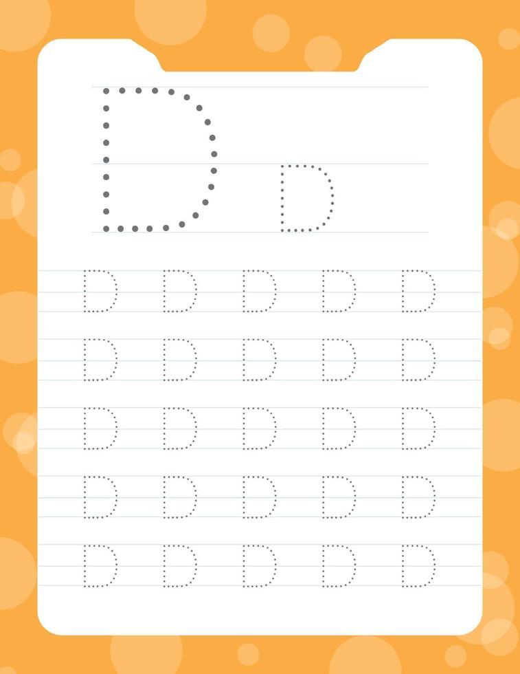 letter d tracing alfabet werkbladen vector