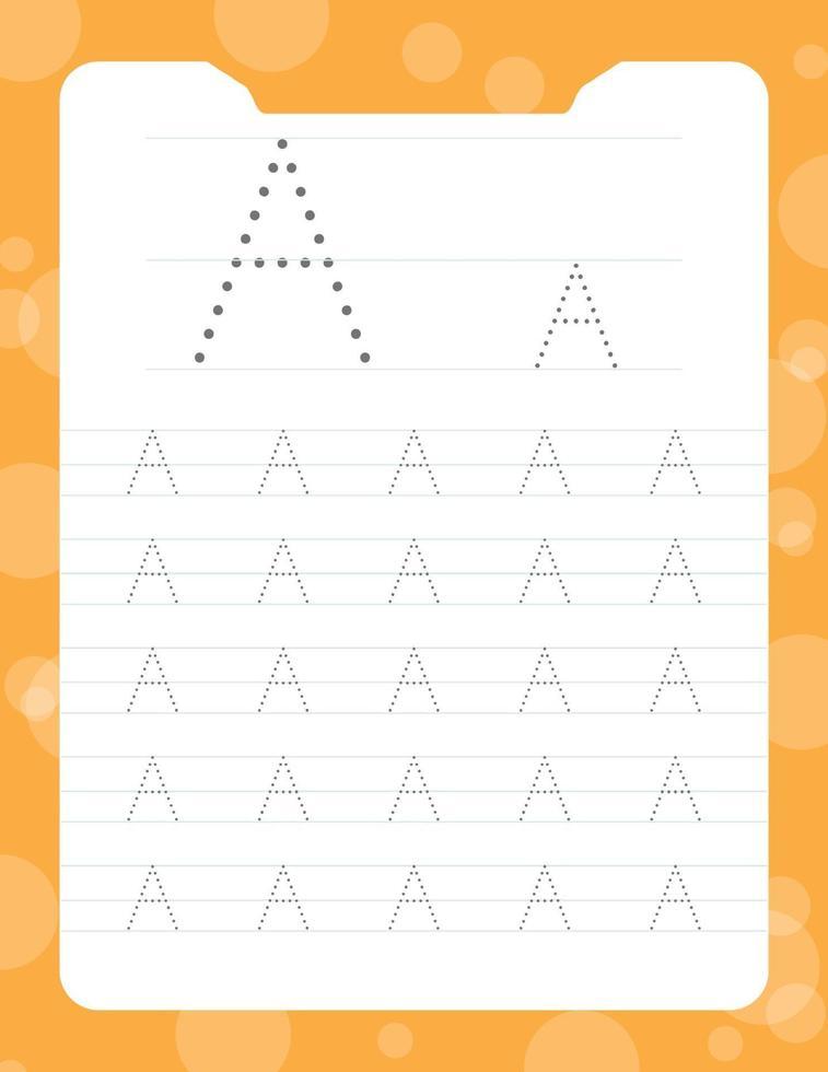 letter a tracing alfabet werkbladen vector