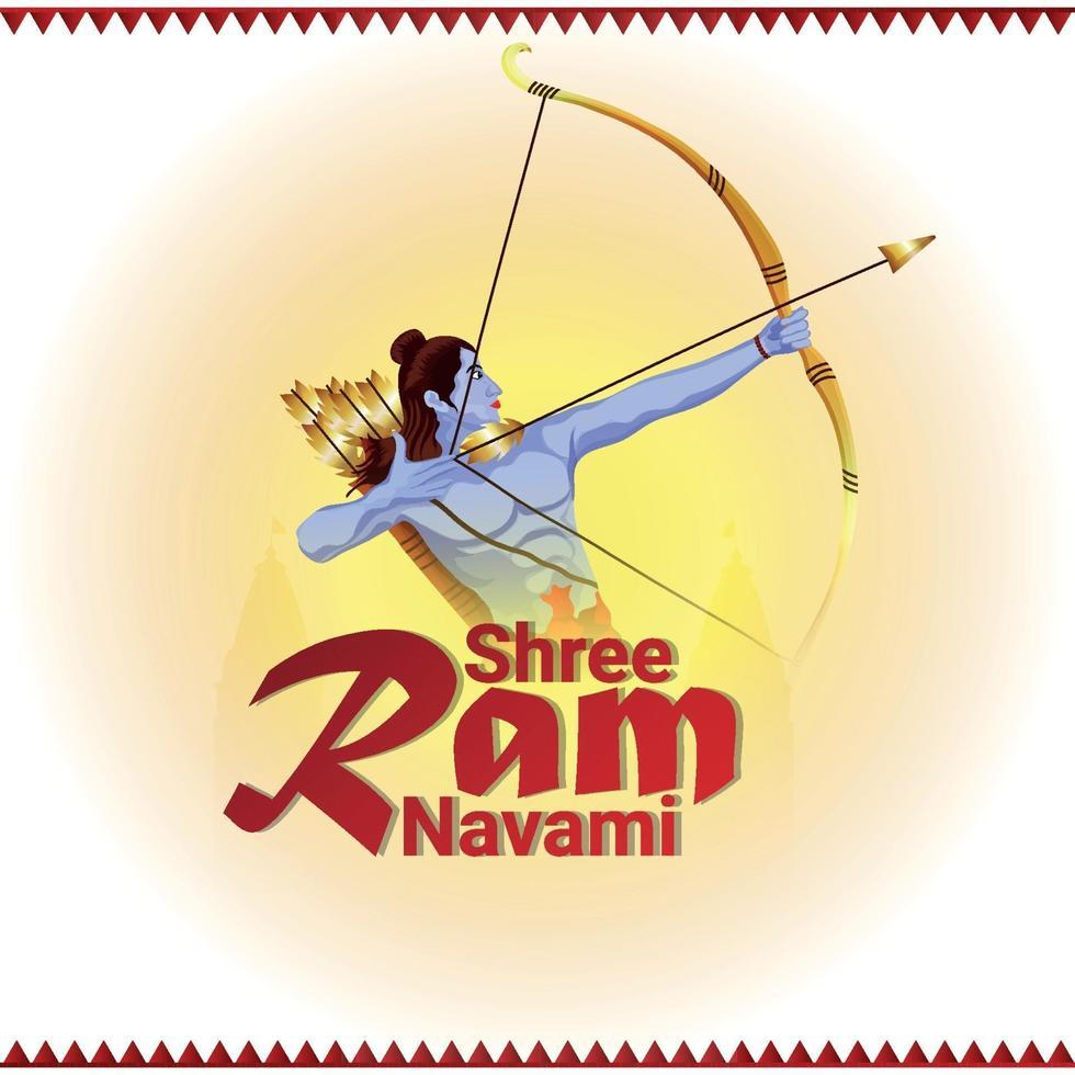 creatieve illustratie van lord rama voor ram navami vector