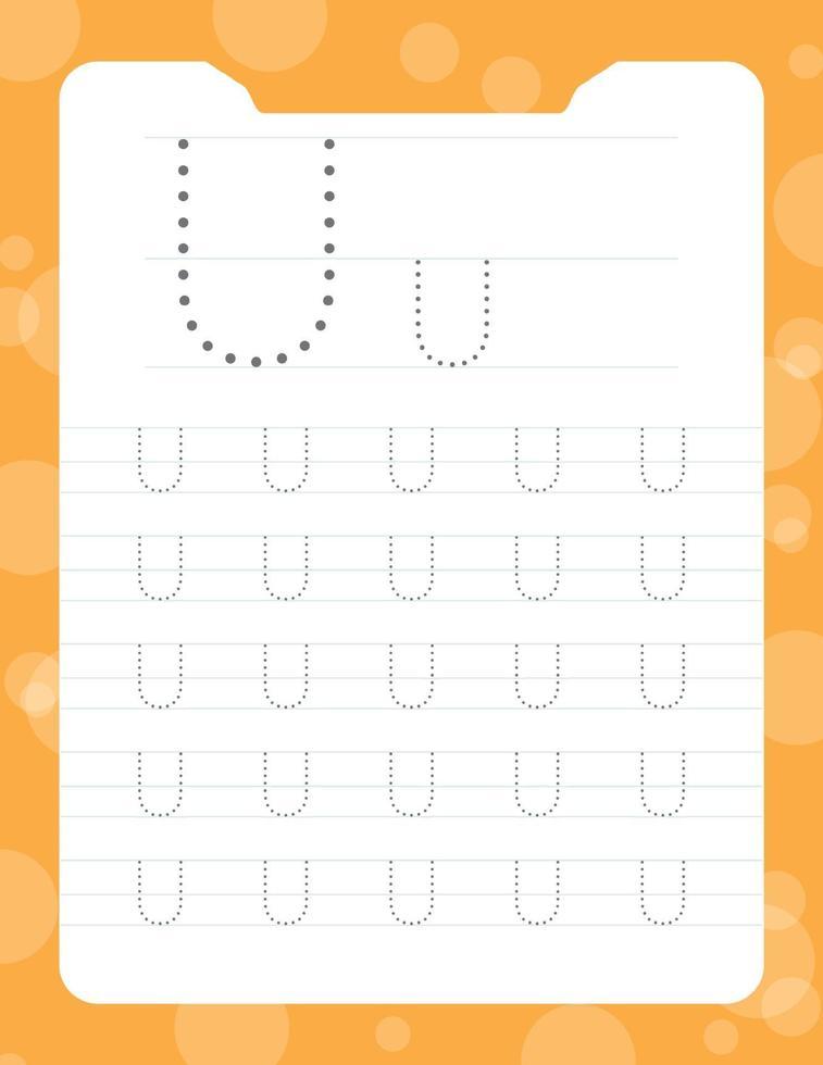 letter u tracing alfabet werkbladen vector