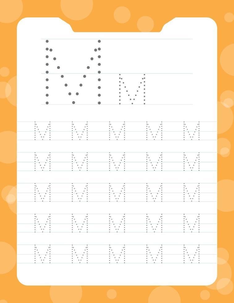 letter m tracering alfabet werkbladen vector