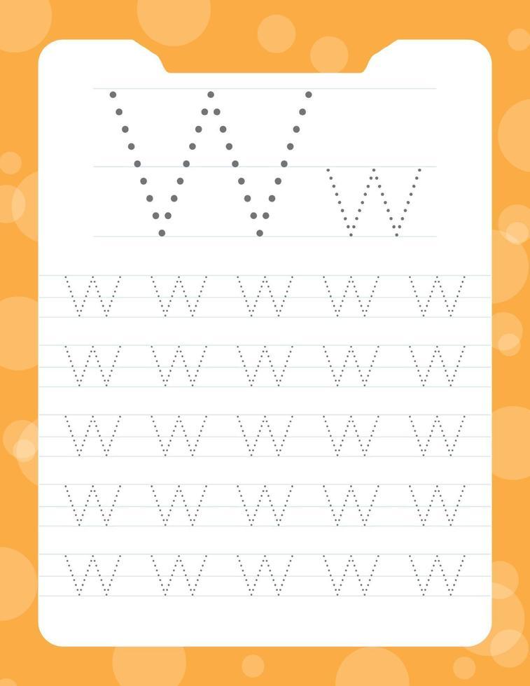 letter w tracing alfabet werkbladen vector