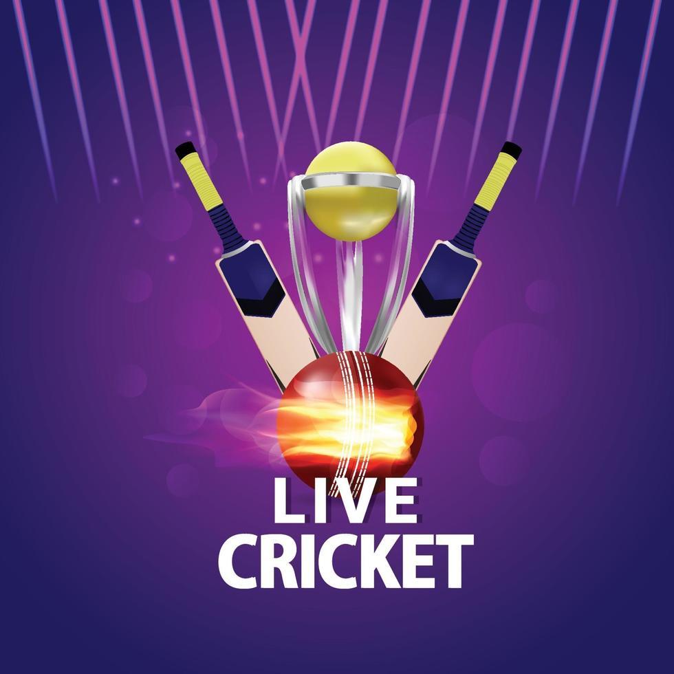 cricket live toernooiwedstrijd en stadionachtergrond vector