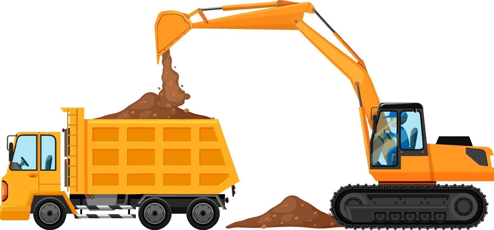 backhoe en vrachtwagen op witte achtergrond vector