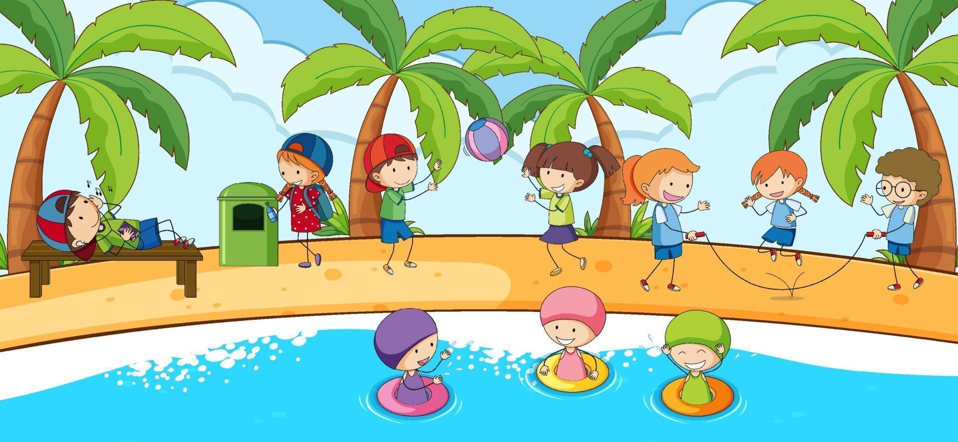 strandtafereel met veel kinderen doodle stripfiguur vector