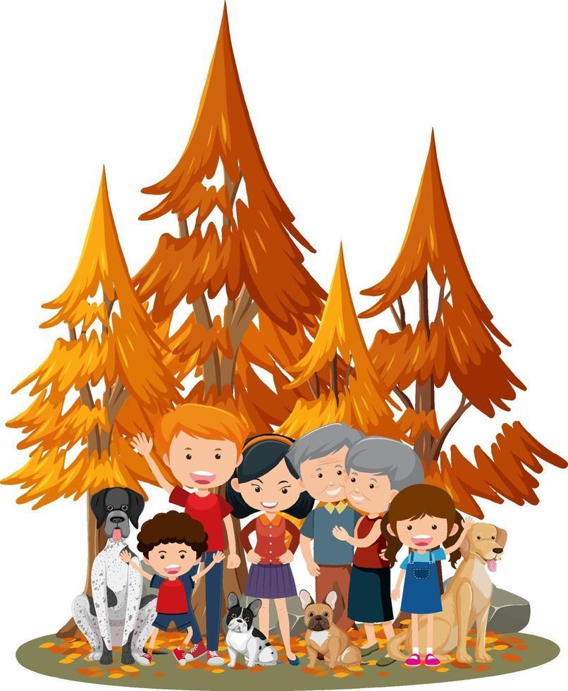 geïsoleerde scène met gelukkige familie in het park vector