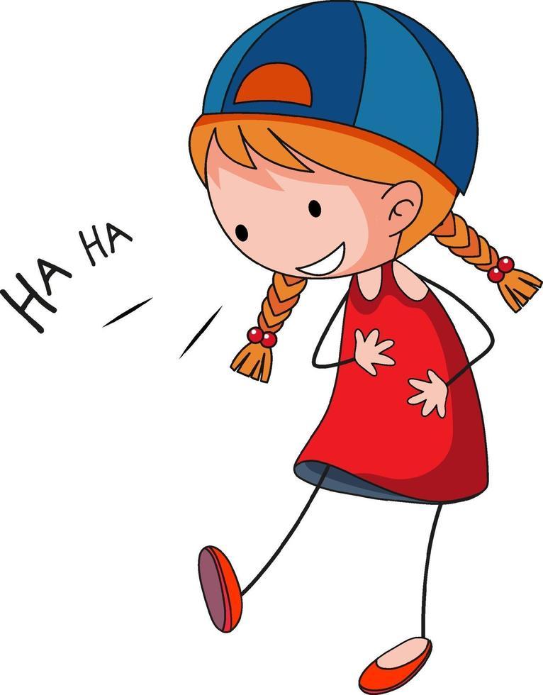 een gelukkig meisje lachen doodle stripfiguur geïsoleerd vector