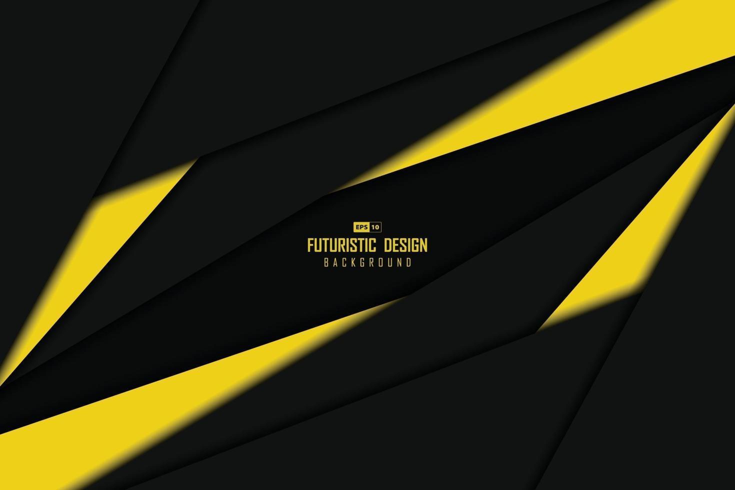 abstract zwart en geel tech-overlappingsontwerp van de achtergrond van het centrumsjabloon. illustratie vector eps10