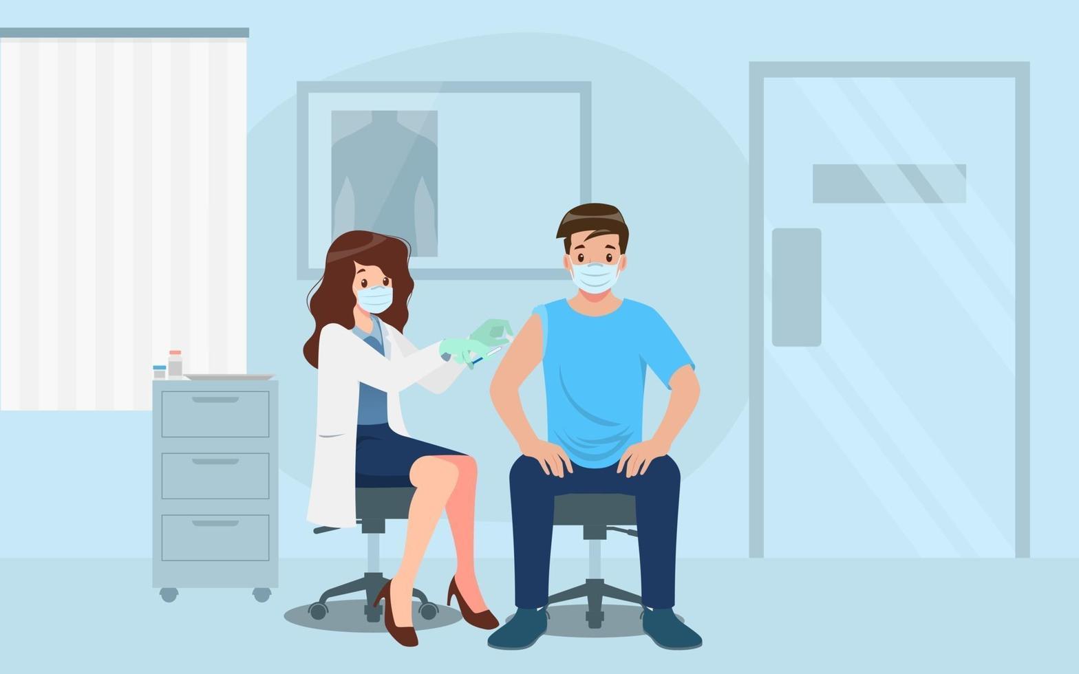 een arts in een kliniek die een man een coronavirusvaccin geeft. vaccinatieconcept voor immuniteitsgezondheid. viruspreventie tot medische behandeling, proces van immunisatie tegen covid-19 voor mensen. vector