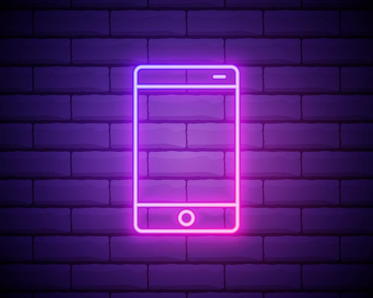 mobiele telefoon, smartphone neonreclame. helder gloeiend symbool op een bakstenen muurachtergrond. neon stijlicoon vector
