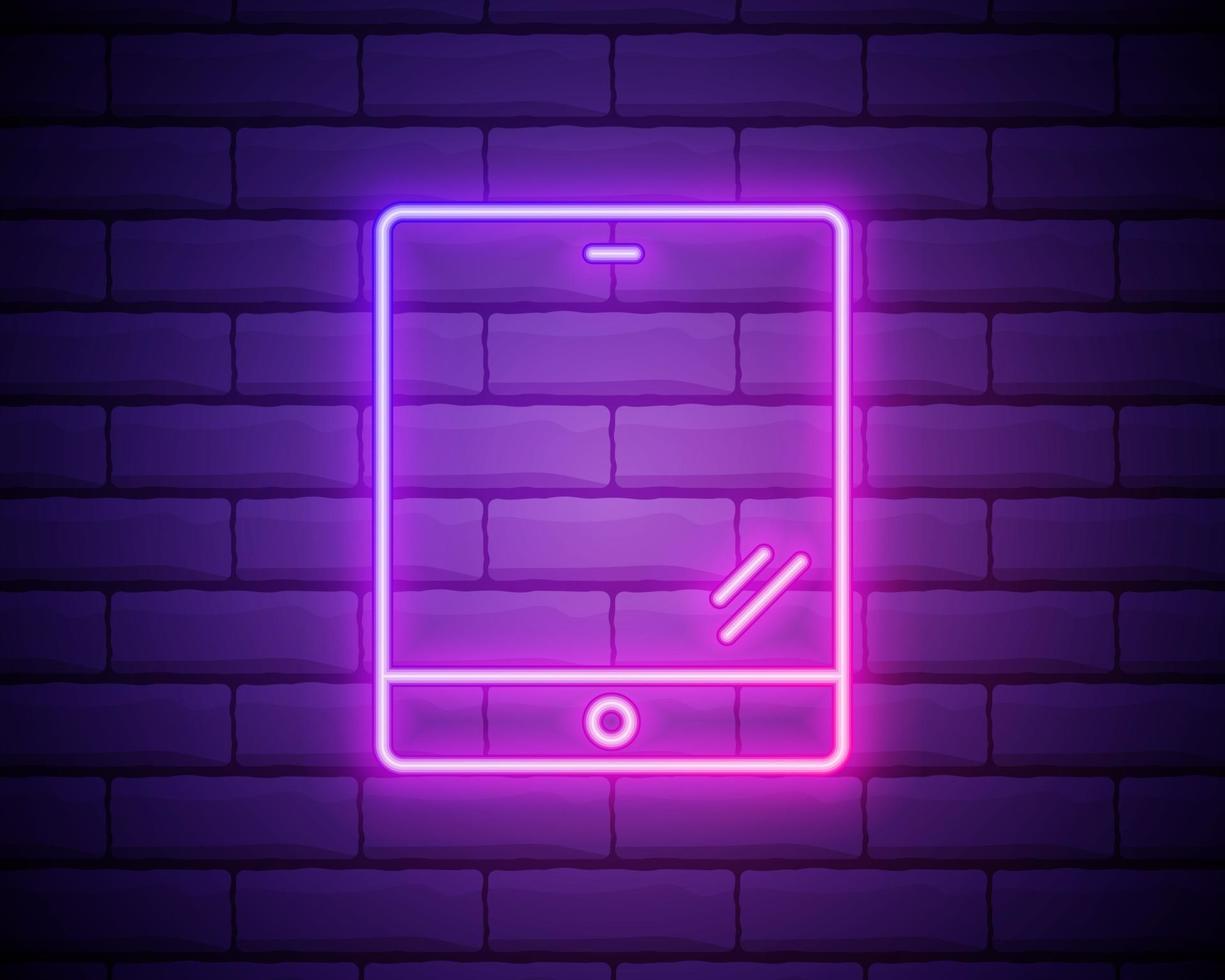 computer tablet icoon. kleurrijk roze neonpictogram bij donkere bakstenen muurachtergrond. verlichting. illustratie. vector