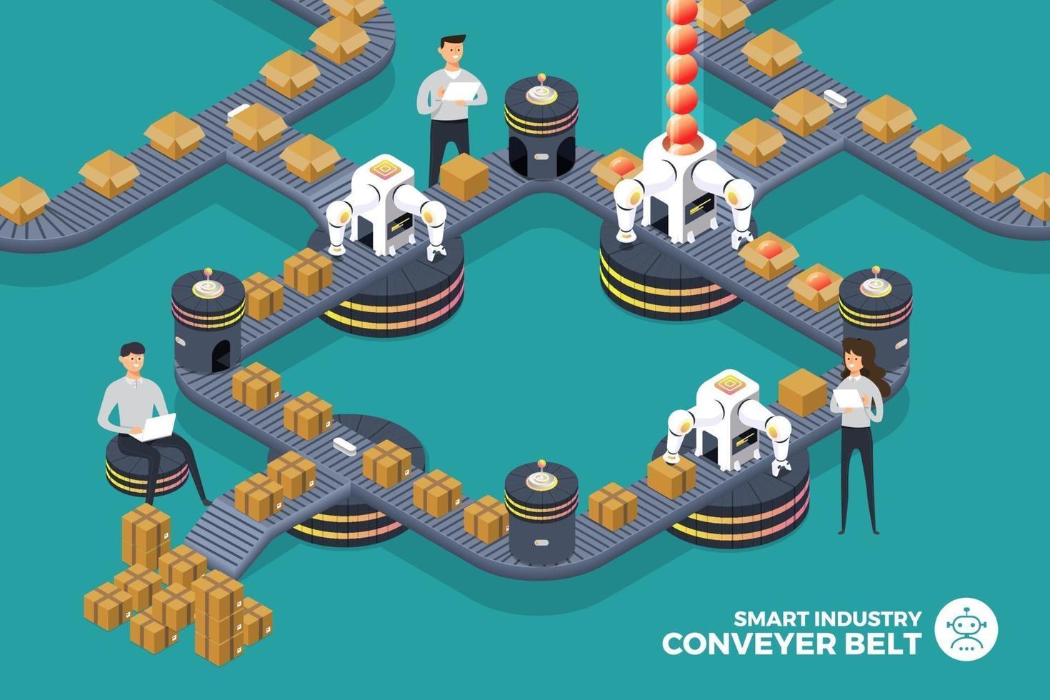 fabriek transportband. automatisering slimme verpakking. productie van robotarmen op de lopende band. isometrische vector