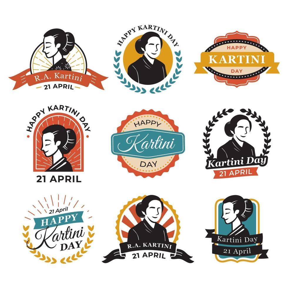 kartini dag vintage stickers vector