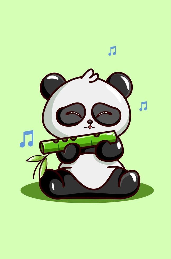 een schattige panda blazende bamboefluit vector