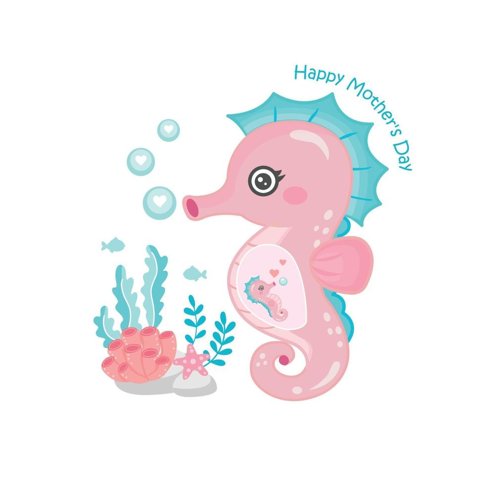 moederdag kaart met zeepaardje. schattige dieren moeder en baby. vector