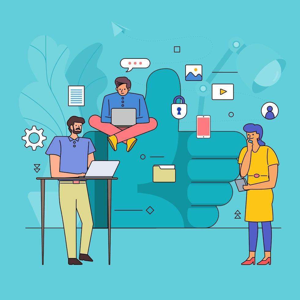 plat ontwerp van teamwerk op sociale media vector