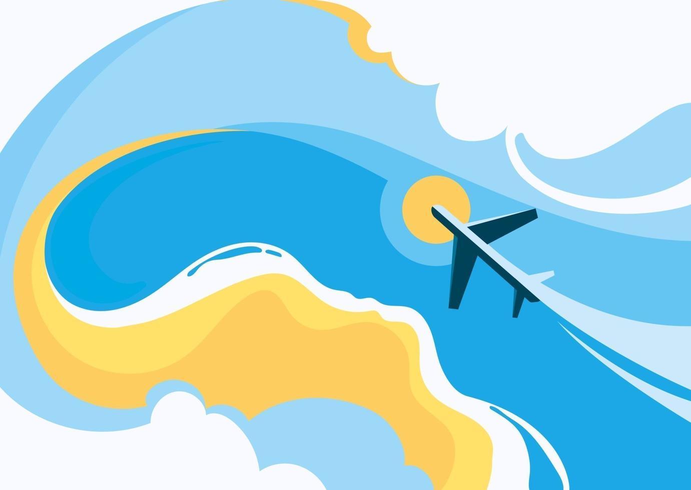 sjabloon voor spandoek met kust en vliegtuig. vector