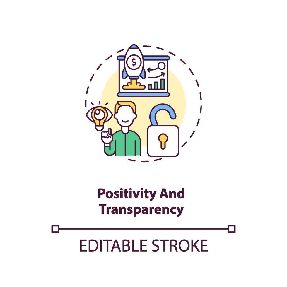 positiviteit en transparantie concept pictogram vector