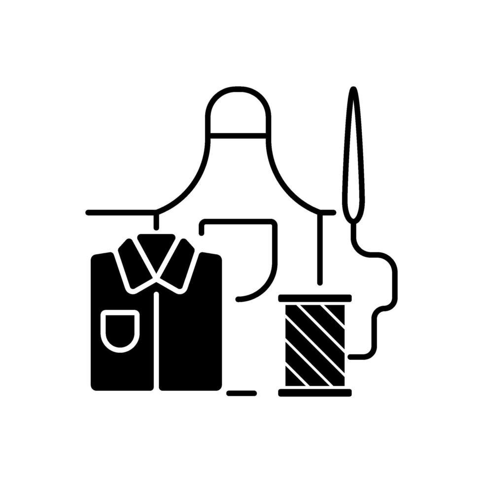 werkkleding reparatie zwarte lineaire pictogram vector