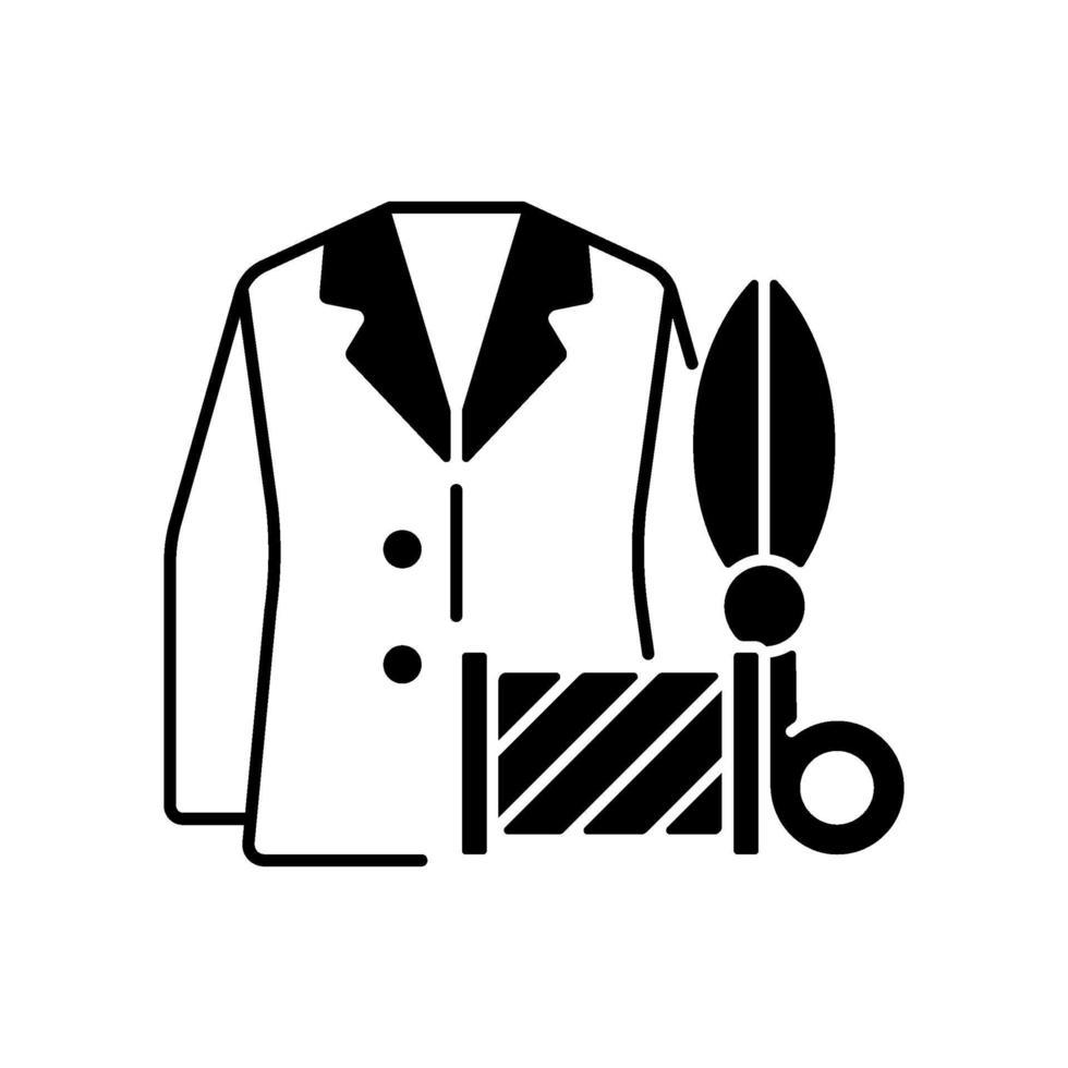 aangepaste pakken en overhemden zwart lineair pictogram vector