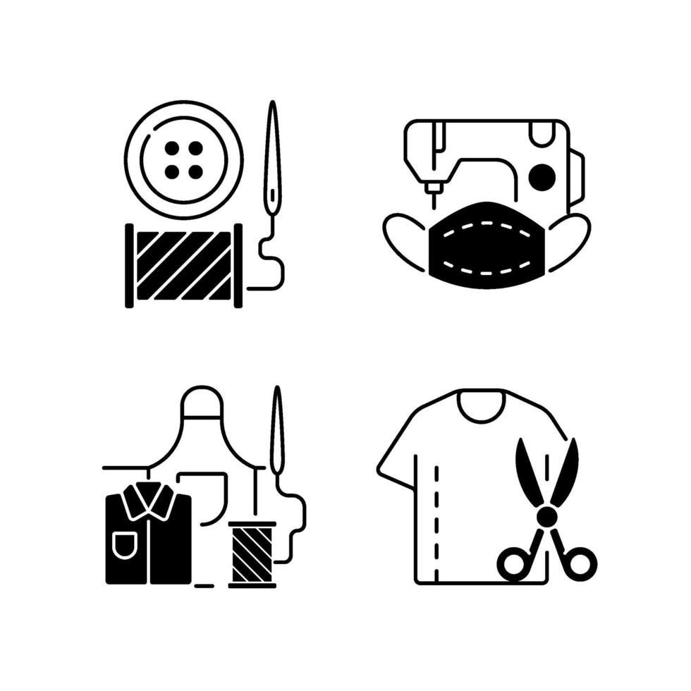kledingwijziging zwarte lineaire pictogrammen instellen vector