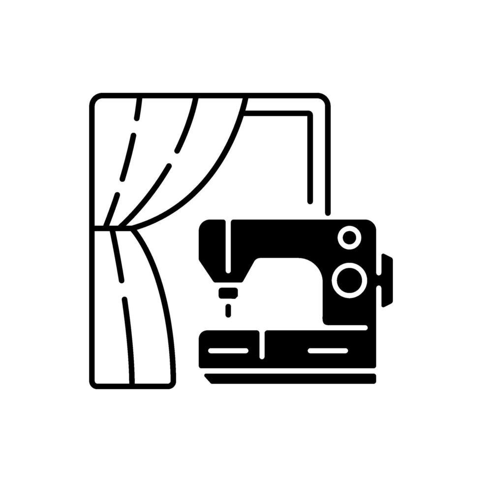 gordijn naaien en wijziging zwart lineair pictogram vector
