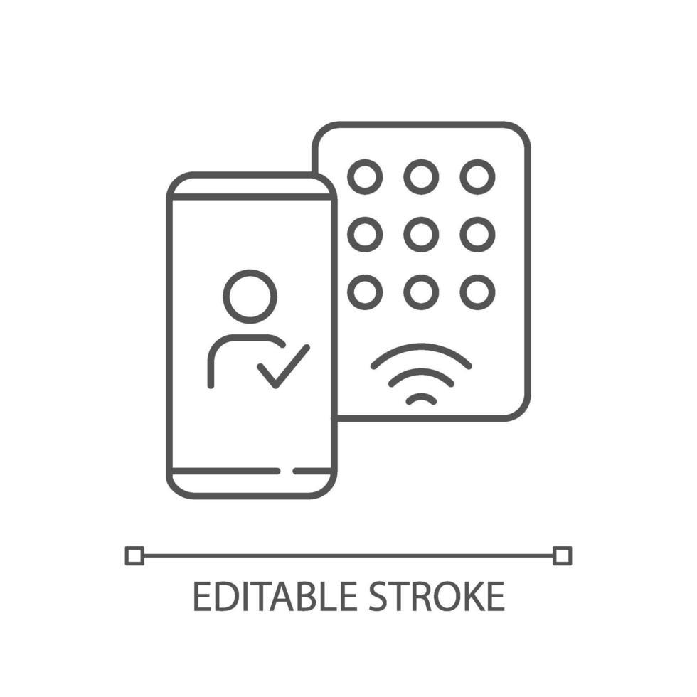 het detecteren van mobiele inloggegevens lineair pictogram vector