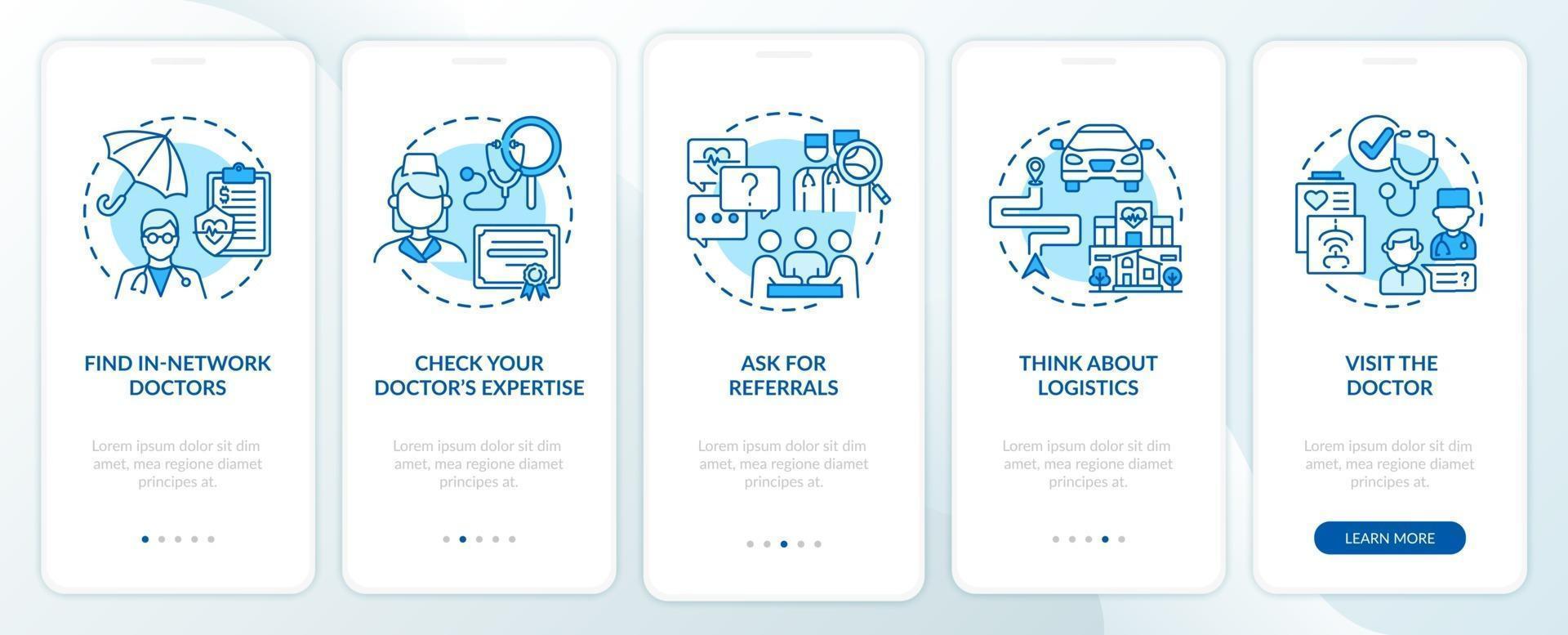 huisarts kiezen tips blauw onboarding mobiele app-paginascherm met concepten vector