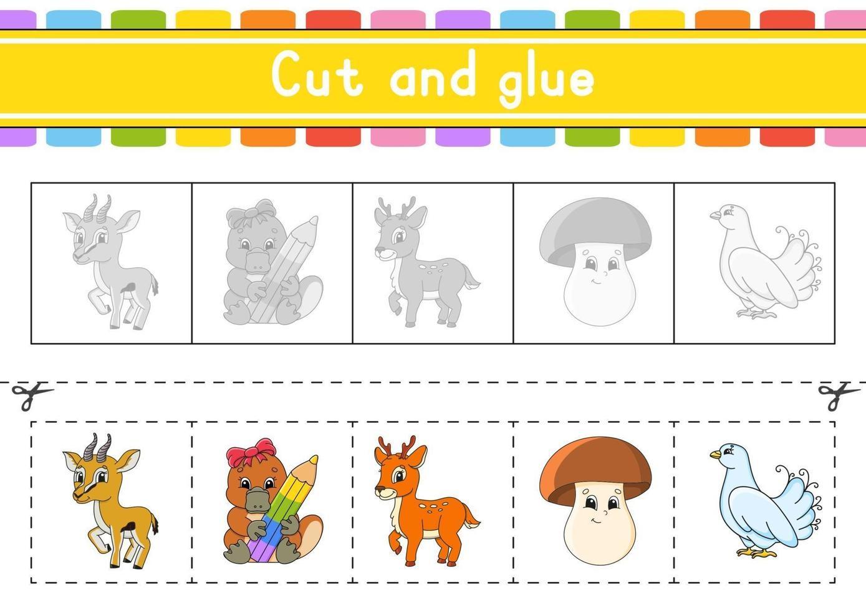 knippen en spelen. papieren spel met lijm. flash-kaarten. onderwijs werkblad. activiteitenpagina. schaar oefenen. geïsoleerde vectorillustratie. cartoon stijl. vector