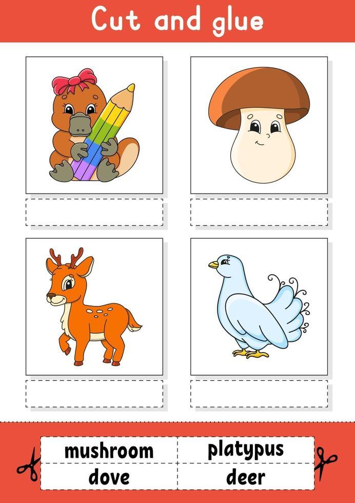 knip en lijm. spel voor kinderen. Engelse woorden leren. onderwijs ontwikkelend werkblad. kleur activiteitenpagina. stripfiguur. vector